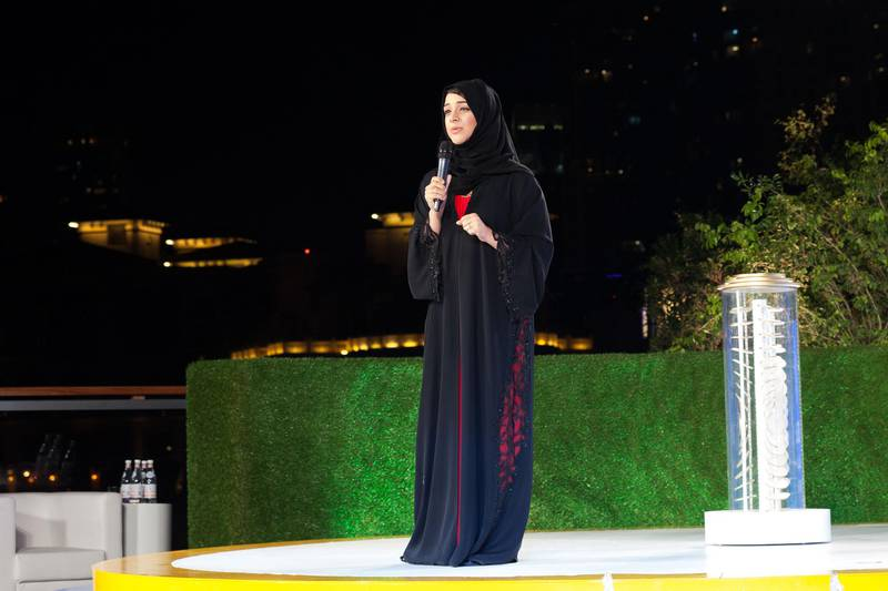 Dubai 27th of March 2016. Reem Al Hashmy at the launch of the expo 2020 logo at the Burj Khalifa. Anna Nielsen for The National *** Local Caption ***  Expo2020Logo_AnnaNielsen_01.JPG