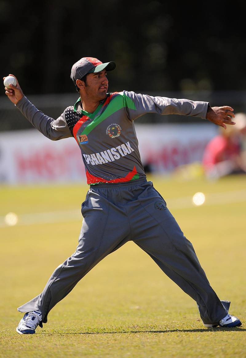 SUNSHINE COAST, AUSTRALIA - AUGUST 14: Najibullah of Afghanistan fields during the ICC U19 Cricket World Cup 2012 match between New Zealand and Afghanistan at Kev Hackney Oval on August 14, 2012 on the Sunshine Coast, Australia. (Photo by Matt Roberts-ICC/ICC via Getty Images)