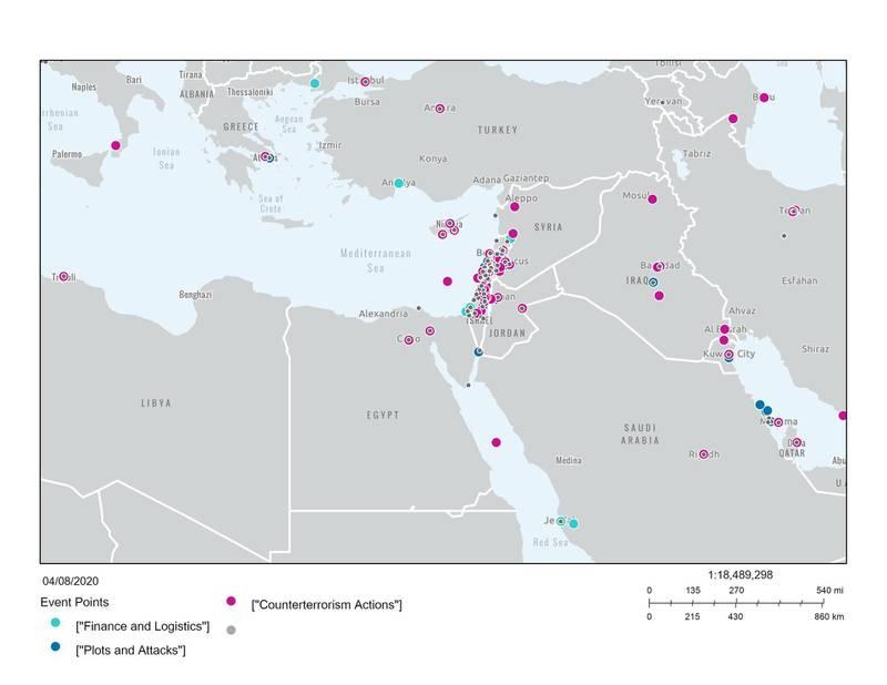 Maps showing Hezbollah activity