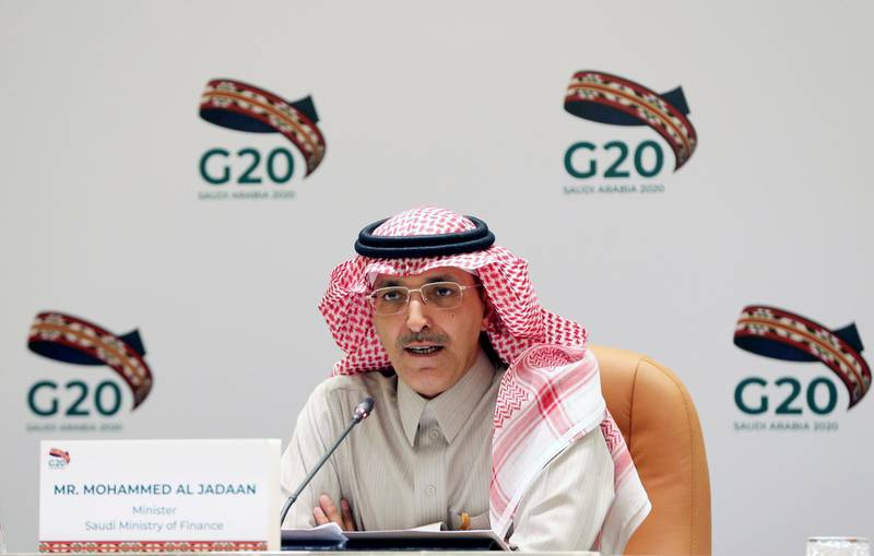 FILE PHOTO: Saudi Minister of Finance Mohammed al-Jadaan speaks during a media conference with Saudi Arabia's central bank governor Ahmed al-Kholifey, in Riyadh, Saudi Arabia, February 23, 2020. REUTERS/Ahmed Yosri/File Photo