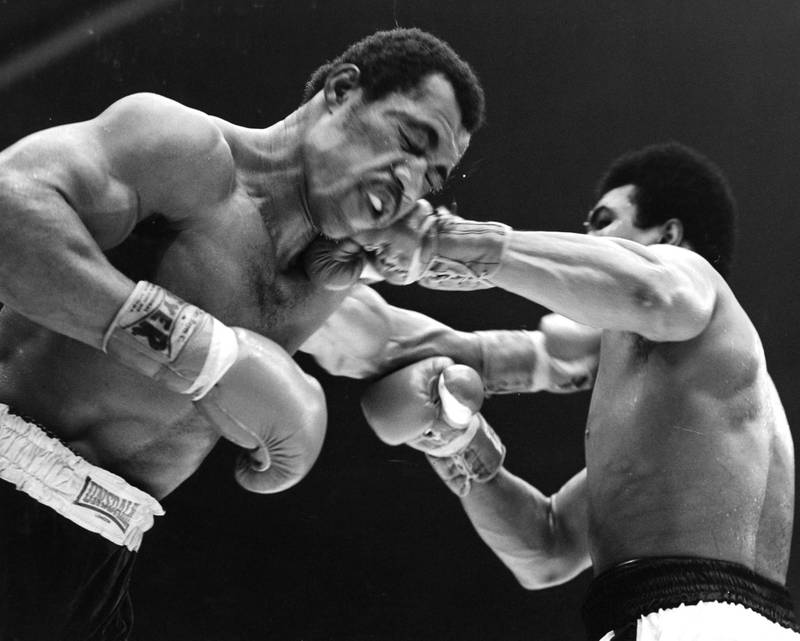 SAN DIEGO - MARCH 31,1973: Ken Norton (L) is hit with a left jab from Muhammad Ali during the fight at the Sports Arena on March 31,1973 in San Diego, California. Ken Norton won the NABF heavyweight title. (Photo by: The Ring Magazine via Getty Images)