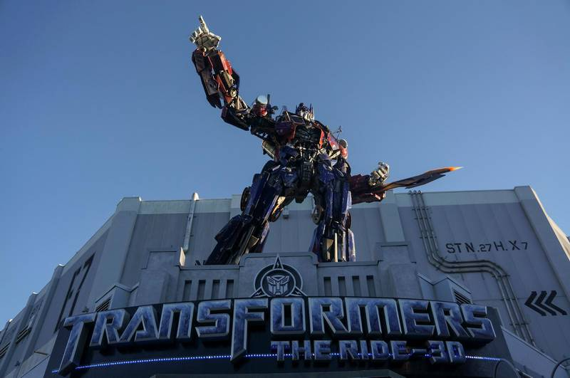 The entrance of TRANSFORMERS 3D Ride at Universal Studios is seen in Orlando, Florida, January 11, 2016. (Photo by John Gress/Corbis via Getty Images)