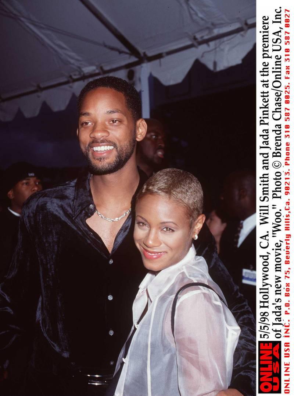 "5/5/98 Hollywood, CA. Will Smith and Jada Pinkett at the premiere of Jada's new movie, ""Woo."""