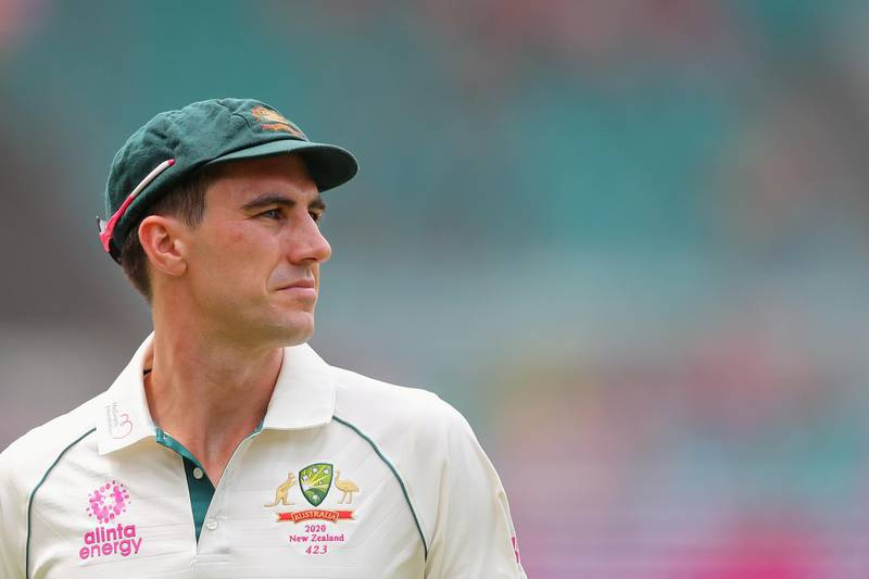 Australia's Pat Cummins looks on during the third day of the third cricket Test match between Australia and New Zealand at the Sydney Cricket Ground in Sydney on January 5, 2020. (Photo by JEREMY NG / AFP) / -- IMAGE RESTRICTED TO EDITORIAL USE - STRICTLY NO COMMERCIAL USE --