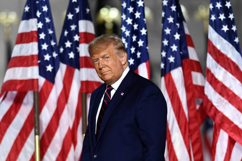 US President Donald Trump arrives to deliver his acceptance speech for the Republican Party nomination for reelection during the final day of the Republican National Convention at the South Lawn of the White House in Washington, DC on August 27, 2020.  / AFP / Brendan Smialowski