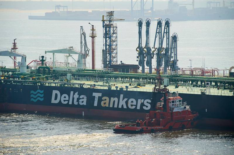 epa06666806 The Delta Kanaris tanker enters the Naftoport in Gdansk, Poland, 13 April 2018. The tanker, transporting Iranian crude oil for Polish company PKN Orlen, arrived at the Baltic seaport of Gdansk after setting off from Kharg island in the Persian Gulf, crossing the Suez Canal and then the Mediterranean Sea. The tanker delivered some 130,000 tons of crude oil that will be processed at the refinery and PKN Orlen's petrochemical complex in Plock.  EPA/DOMINIK KULASZEWICZ POLAND OUT