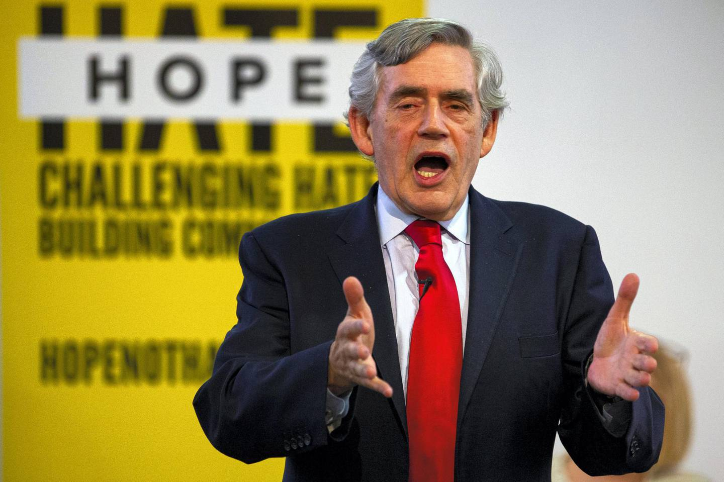 """GLASGOW, SCOTLAND - SEPTEMBER 09: Former Prime Minister Gordon Brown speaks at a """"No to No-Deal"""" rally at Gorbals Parish Church on September 9, 2019 in Glasgow, Scotland. (Photo by Duncan McGlynn/Getty Images)"""
