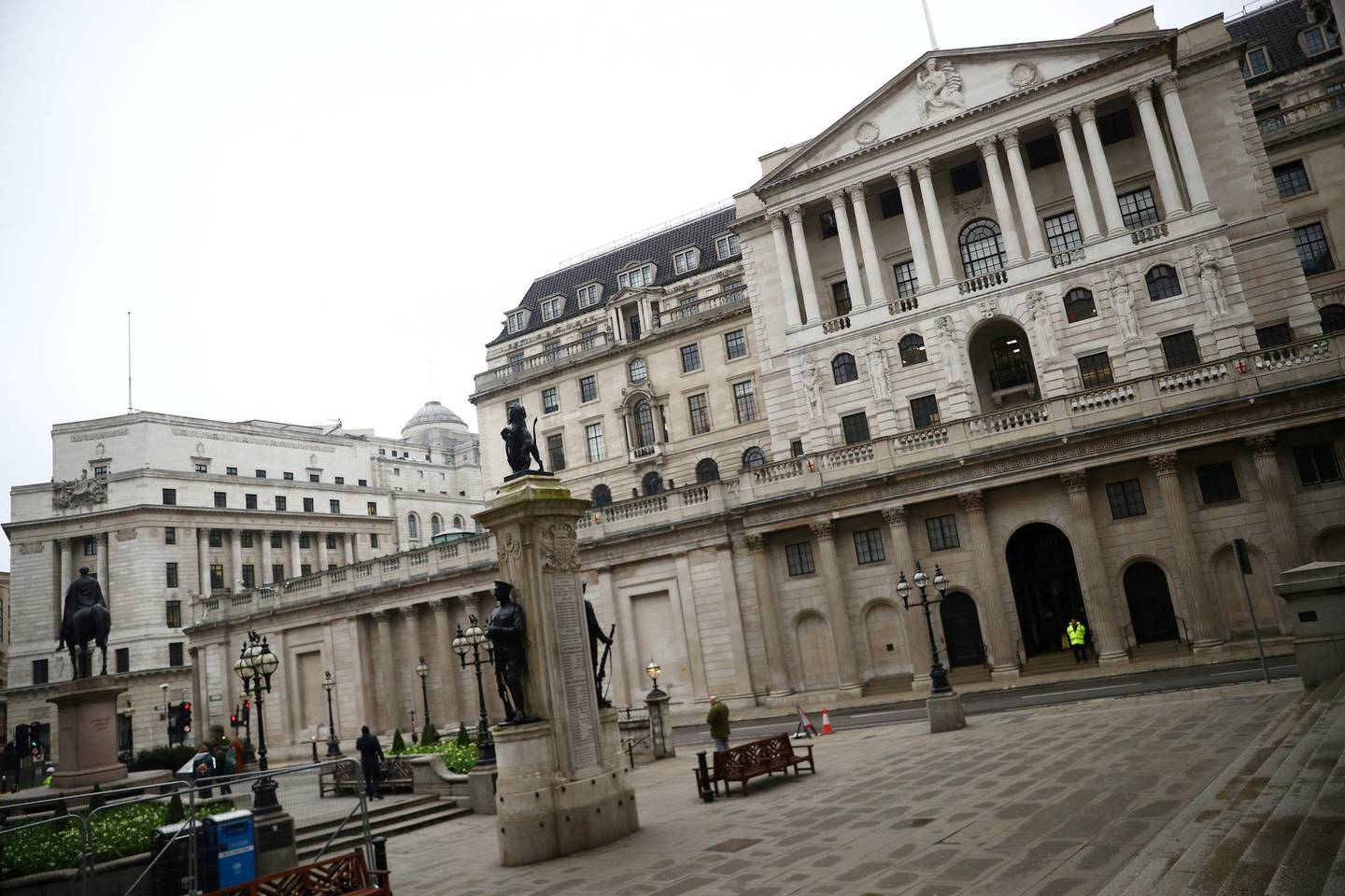 FILE PHOTO: A general view of The Bank of England in London, Britain, March 19, 2020. REUTERS/Hannah McKay/File Photo