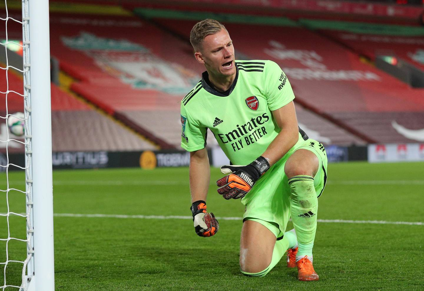 Soccer Football - Carabao Cup Fourth Round - Liverpool v Arsenal - Anfield, Liverpool, Britain - October 1, 2020 Arsenal's Bernd Leno celebrates after making a save during the penalty shootout Pool via REUTERS/Peter Byrne EDITORIAL USE ONLY. No use with unauthorized audio, video, data, fixture lists, club/league logos or 'live' services. Online in-match use limited to 75 images, no video emulation. No use in betting, games or single club /league/player publications.  Please contact your account representative for further details.