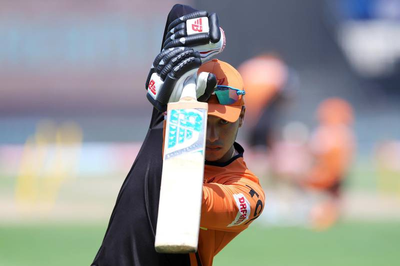Abhishek Sharma of Sunrisers Hyderabad during the practise session before the start of match 17 of season 13 of the Dream 11 Indian Premier League (IPL) between the Mumbai Indians and the Sunrisers Hyderabad held at the Sharjah Cricket Stadium, Sharjah in the United Arab Emirates on the 4th October 2020. Photo by: Deepak Malik  / Sportzpics for BCCI