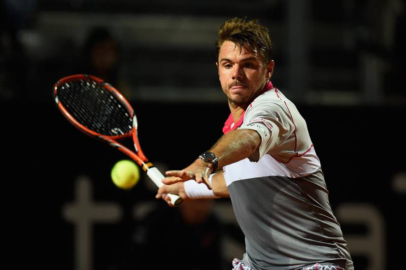 ROME, ITALY - MAY 15:  Stan Wawrinka of Switzerland in action during his Quarter Final match with Rafael Nadal of Spain on Day Six of The Internazionali BNL d'Italia 2015 at the Foro Italico on May 15, 2015 in Rome, Italy.  (Photo by Mike Hewitt/Getty Images)