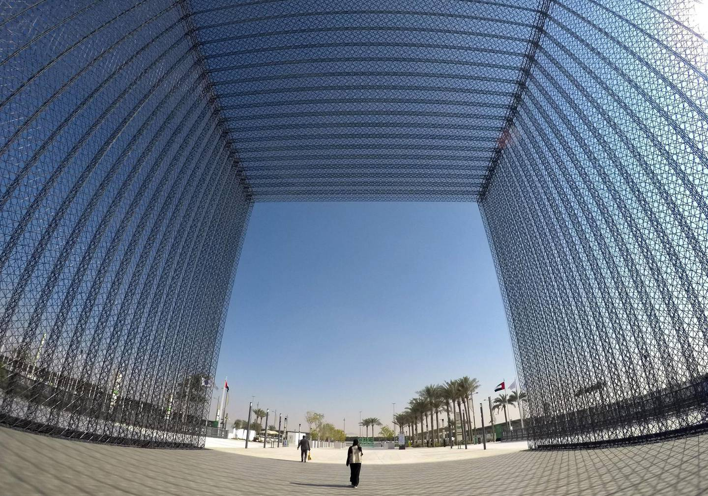 DUBAI, UNITED ARAB EMIRATES , January 16 – 2021 :- One of the gate near the Dubai Expo 2020 Sustainability Pavilion in Dubai. (Pawan Singh / The National) For News/Online/Instagram/Big Picture. Story by Sarwat