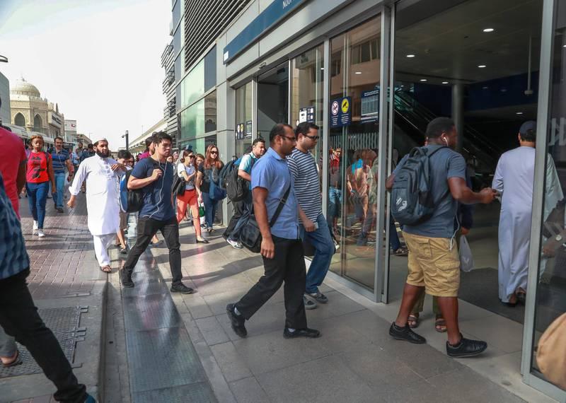 Dubai, United Arab Emirates, September 6, 2018.  Dubai Metro Anniversary.-  Commuters at the Noor Bank Metro Station.Victor Besa/ The NationalSection:  NAReporter:  Nawal Irhami