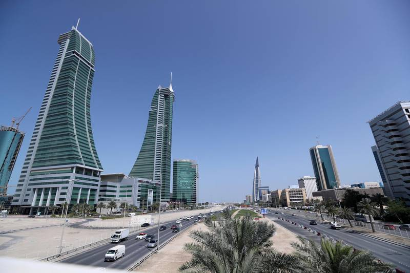 FILE PHOTO: Bahrain Financial Harbour (L) and Bahrain World Trade Center are seen in the diplomatic area of Manama, Bahrain February 28, 2018. REUTERS/Hamad I Mohammed/File Photo