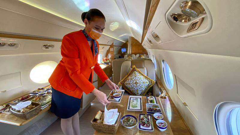 DUBAI, UNITED ARAB EMIRATES. 4 APRIL 2021. Jetex's Iftar in the Sky offering where guests can enjoy ifyar while cruising at altitude. (Photo: Antonie Robertson/The National) Journalist: Janice Rodriques. Section: National.