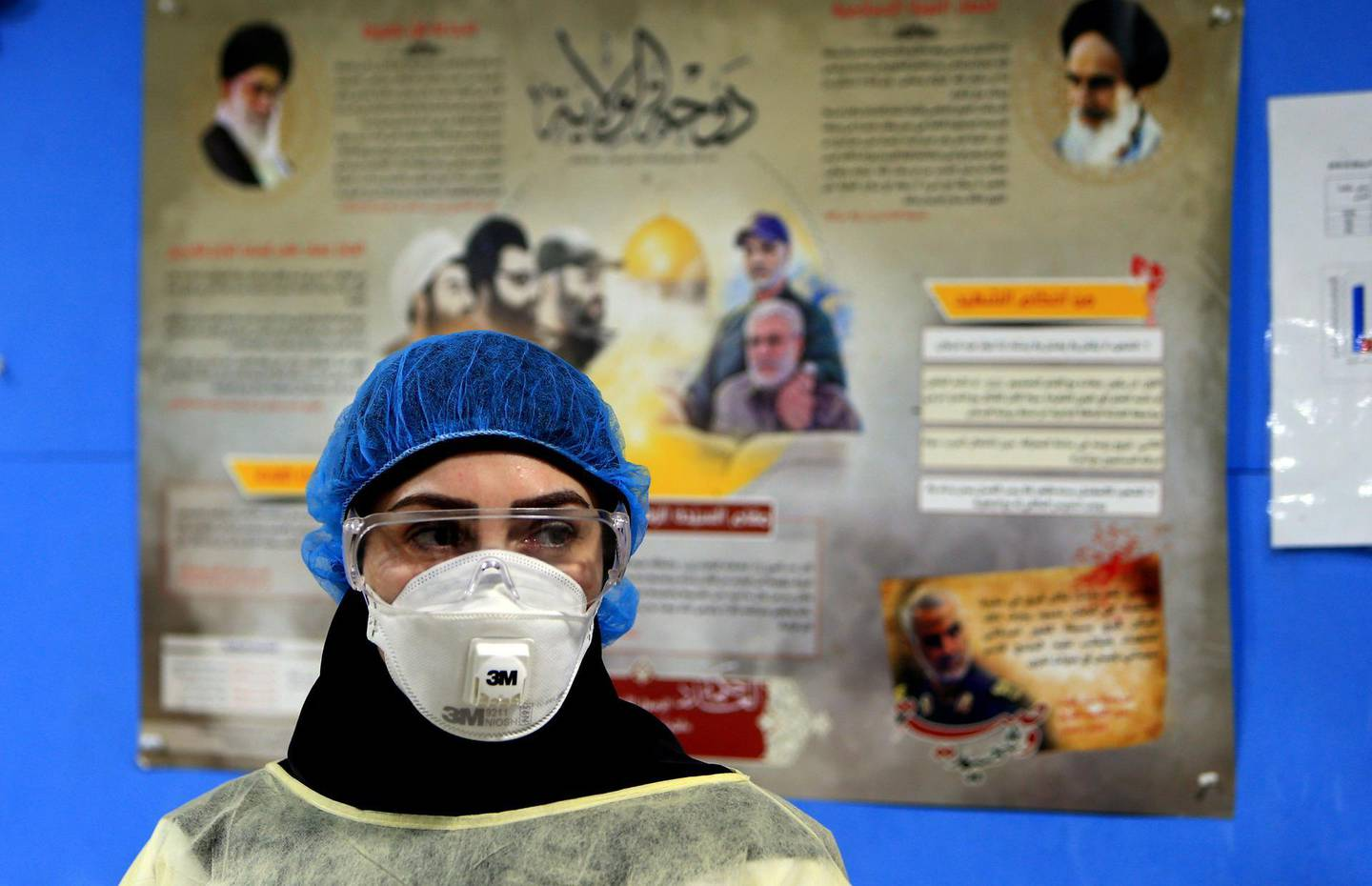 A picture taken during a guided tour organised by the Lebanese Shiite movement Hezbollah shows a nurse wearing protective clothing at a hospital in Beirut's southern suburb on March 31, 2020. / AFP / -