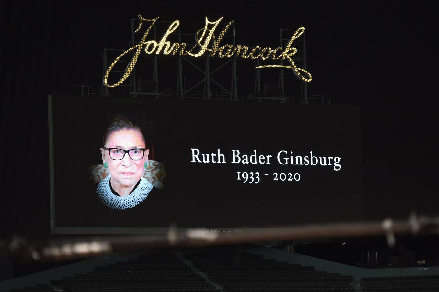 Sep 19, 2020; Boston, Massachusetts, USA;  A tribute in honor of Court Justice Ruth Bader Ginsburg who passed away on Friday September 18th is seen on the center field Jumbotron prior to a game between the Boston Red Sox and New York Yankees at Fenway Park. Mandatory Credit: Bob DeChiara-USA TODAY Sports