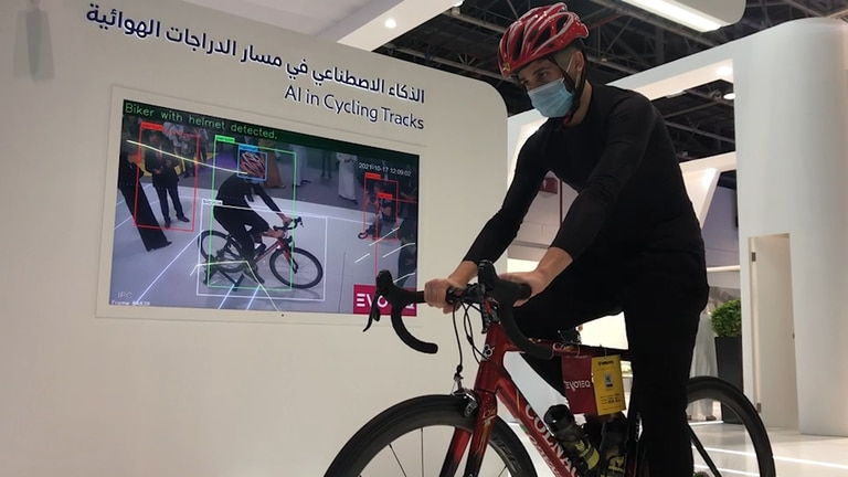 An image that illustrates this article Cameras can now detect Dubai cyclists without helmets