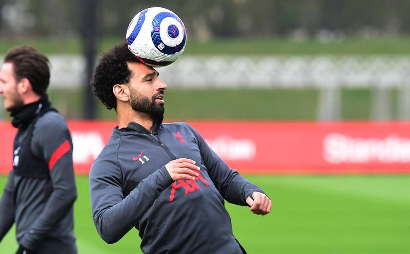 KIRKBY, ENGLAND - APRIL 28:(THE SUN OIUT. THE SUN ON SUNDAY OUT) Mohamed Salah of Liverpool during a training session at AXA Training Centre on April 28, 2021 in Kirkby, England. (Photo by John Powell/Liverpool FC via Getty Images)