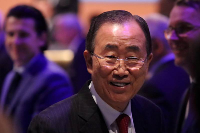 FILE PHOTO: Former UN Secretary-General Ban Ki-moon attends the 131st International Olympic Committee session in Lima, Peru, September 14, 2017. REUTERS/Guadalupe Pardo/File Photo
