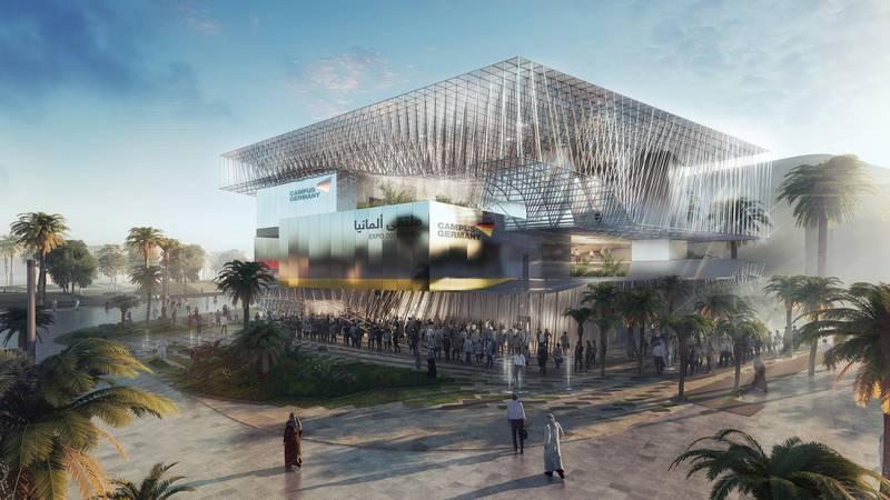 The German Pavilion CAMPUS GERMANY: Side view. Courtesy: German Pavilion EXPO 2020 Dubai