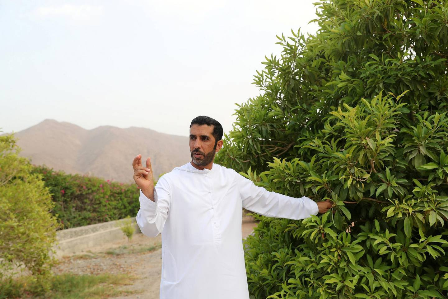 Sharjah, United Arab Emirates - September 24, 2018: Ali Al Mazroui. Neighbourhood watch series. Wadi Al Helo town also known as sweet valley. Residents talking about the town, archaeological site and the valley. Monday, September 24th, 2018 at Wadi Al Helo, Sharjah. Chris Whiteoak / The National