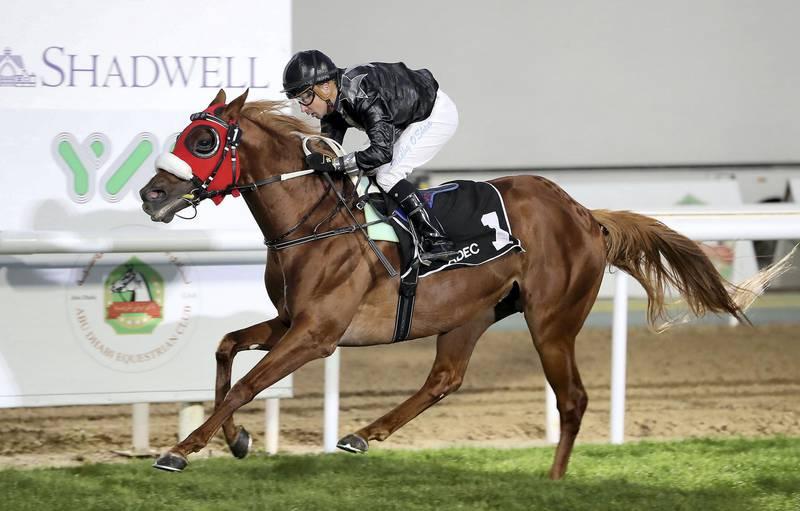 ABU DHABI, UNITED ARAB EMIRATES , March 1  – 2020 :- Tadhg O'Shea (no 1) guides Af Alwajel (AE) to win the 4th horse race, Liwa Oasis, 1400m at the Abu Dhabi Equestrian Club  in Abu Dhabi. (Pawan Singh / The National) For Sports. Story by Amith