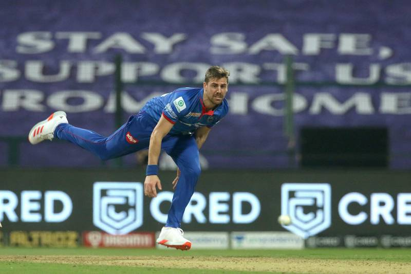 Anrich Nortje of Delhi Capitals bowls during match 11 of season 13 of the Dream 11 Indian Premier League (IPL) between the Delhi Capitals and the Sunrisers Hyderabad held at the Sheikh Zayed Stadium, Abu Dhabi in the United Arab Emirates on the 29th September 2020.  Photo by: Vipin Pawar  / Sportzpics for BCCI