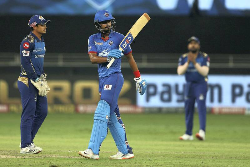 Shreyas Iyer captain of Delhi Capitals celebrates his fifty, half century during the final of season 13 of the Dream 11 Indian Premier League (IPL) between the Mumbai Indians and the Delhi Capitals held at the Dubai International Cricket Stadium, Dubai in the United Arab Emirates on the 10th November 2020.  Photo by: Ron Gaunt  / Sportzpics for BCCI