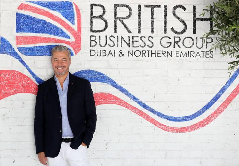 Dubai, United Arab Emirates - July 28, 2019: Money & Me. John Martin St Valery, Chairman of the British Business Group (BBG) for Dubai and Northern Emirates. Sunday the 28th of July 2019. Bur Dubai, Dubai. Chris Whiteoak / The National