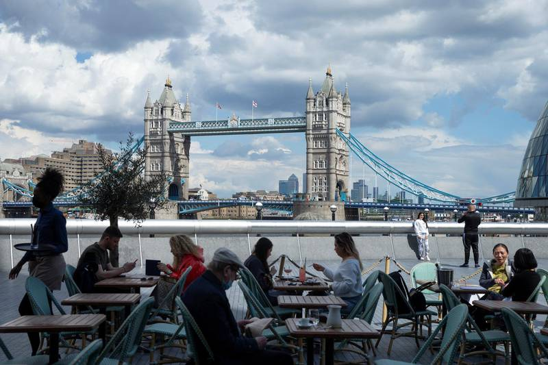 LONDON, ENGLAND - MAY 19: General view of Tower Bridge from the outdoor dining area at Tavolino Bar & Kitchen on May 19, 2021 in London, England. Although indoor drinking and dining were permitted in England with yesterday's Covid-19 lockdown easing, there remain social distancing rules and restrictions on party size that prevent many restaurants from returning to full capacity. The next phase of reopening, when all limits on social contact are due to be lifted on June 21, is vital to the recovery of the hospitality business. (Photo by Hollie Adams/Getty Images)