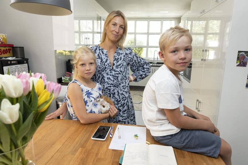 DUBAI, UNITED ARAB EMIRATES. 19 MARCH 2021. Clara Cloché, mother of three, for a story on parental burn-out. In the picture with her is two of her three children, Noah (6) and daughter Lea (7). (Photo: Antonie Robertson/The National) Journalist: Kelly Clarke. Section: National.
