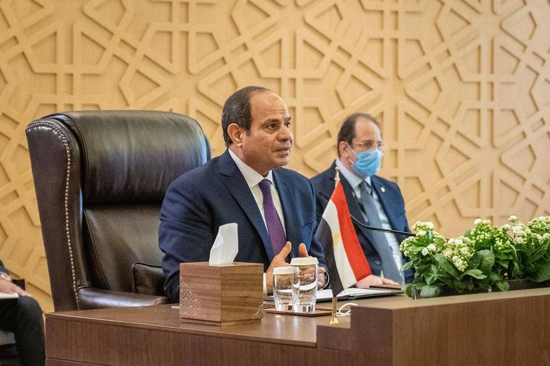"""A handout picture released by the Jordanian Royal Palace on August 25, 2020, shows Egyptian President Abdel Fattah al-Sisi speaking during a summit between Jordan, Iraq and Egypt in the capital Amman.  - RESTRICTED TO EDITORIAL USE - MANDATORY CREDIT """"AFP PHOTO / JORDANIAN ROYAL PALACE / YOUSEF ALLAN"""" - NO MARKETING NO ADVERTISING CAMPAIGNS - DISTRIBUTED AS A SERVICE TO CLIENTS  / AFP / Jordanian Royal Palace / Yousef ALLAN / RESTRICTED TO EDITORIAL USE - MANDATORY CREDIT """"AFP PHOTO / JORDANIAN ROYAL PALACE / YOUSEF ALLAN"""" - NO MARKETING NO ADVERTISING CAMPAIGNS - DISTRIBUTED AS A SERVICE TO CLIENTS"""