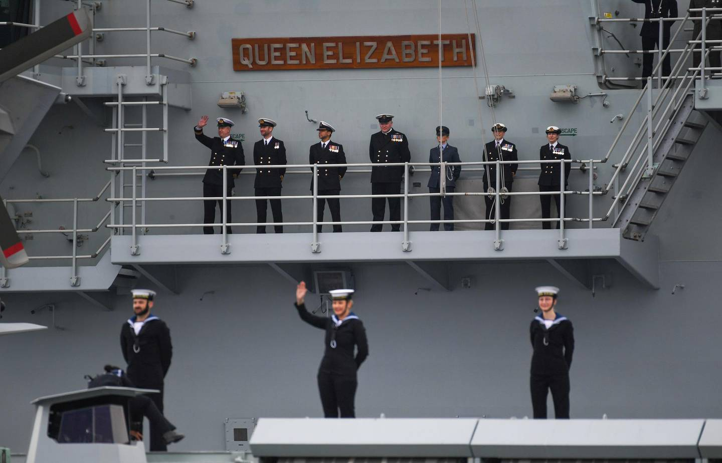 PORTSMOUTH, ENGLAND - MAY 01: HMS Queen Elizabeth leaves Portsmouth on May 01, 2021 in Portsmouth, United Kingdom. The UK's Carrier Strike Group, led by aircraft carrier HMS Queen Elizabeth, will visit more than one fifth of the world's nations during the deployment. The task group will visit 40 nations covering 26,000 nautical miles. Joining HMS Queen Elizabeth on her maiden deployment are destroyers HMS Diamond and Defender, frigates HMS Richmond and Kent, an Astute-class submarine in support and Royal Fleet Auxiliary support ships RFA Fort Victoria and RFA Tidespring. (Photo by Finnbarr Webster/Getty Images)