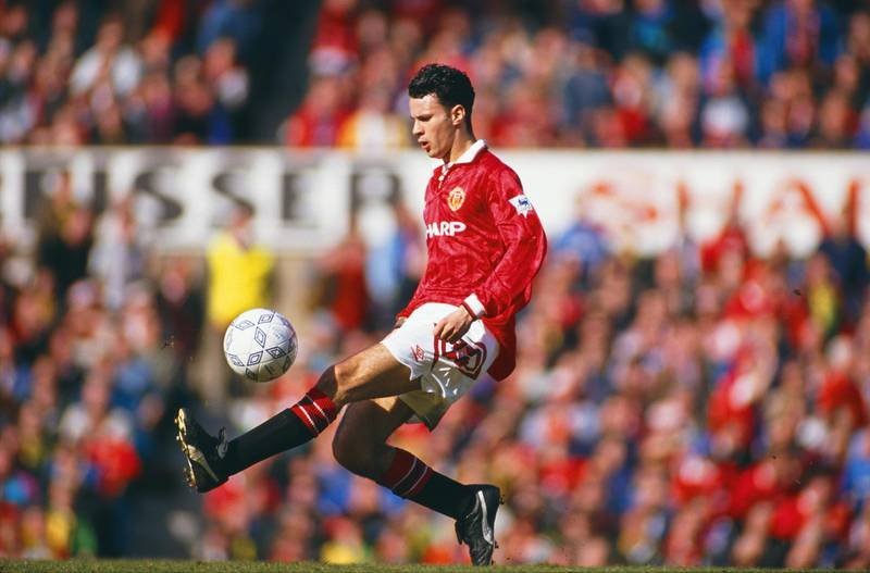 MANCHESTER, UNITED KINGDOM - MARCH 14:  Manchester United player Ryan Giggs in action during a Division One match between Manchester United and Aston Villa at Old Trafford on March 14, 1993  in Manchester, England.  (Photo by David Cannon/Getty Images)