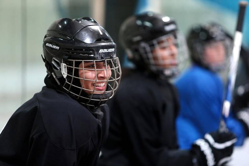 Abu Dhabi, United Arab Emirates, February 1, 2014:      Fatima Al Ali an Emirati hockey player with the Abu Dhabi Storms practises at the Abu Dhabi Ice Rink in Abu Dhabi on February 1, 2014. Christopher Pike / The National  Reporter: Asmaa Al Hameli Section: Focus