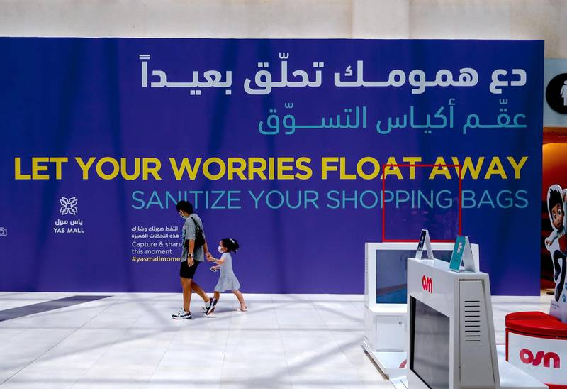 Abu Dhabi, United Arab Emirates, August 19, 2020.  Yas Mall friendly reminder to sanitize shopping bags.Victor Besa /The NationalSection:  NAReporter:  Haneen Dajani