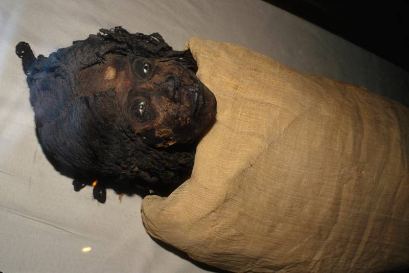 Mummy of Meritamen, daughter of daughter of Nefertari and Ramesses the Great, and later Great Royal Wife of Pharaoh Ramesses the Great. (Photo by Frederic Neema/Sygma via Getty Images)