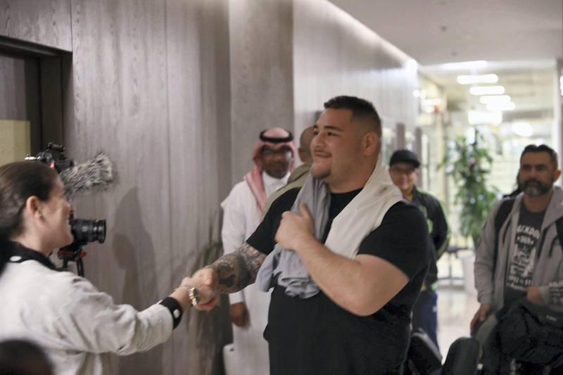 Riyadh, Saudi Arabia. November 26: World Champion Andy Ruiz is greeted by the media in Riyadh, in Saudi Arabia for the Clash On The Dunes. Courtesy Diriyah Season