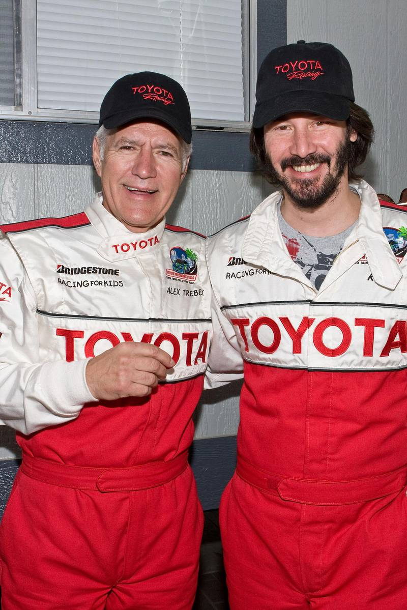 LONG BEACH, CA - APRIL 18:  Television host Alex Trebek (L) and actor Keanu Reeves (R) attend the 33rd Annual Toyota Pro/Celebrity Race on April 18, 2009 in Long Beach, California.  (Photo by Chelsea Lauren/WireImage)