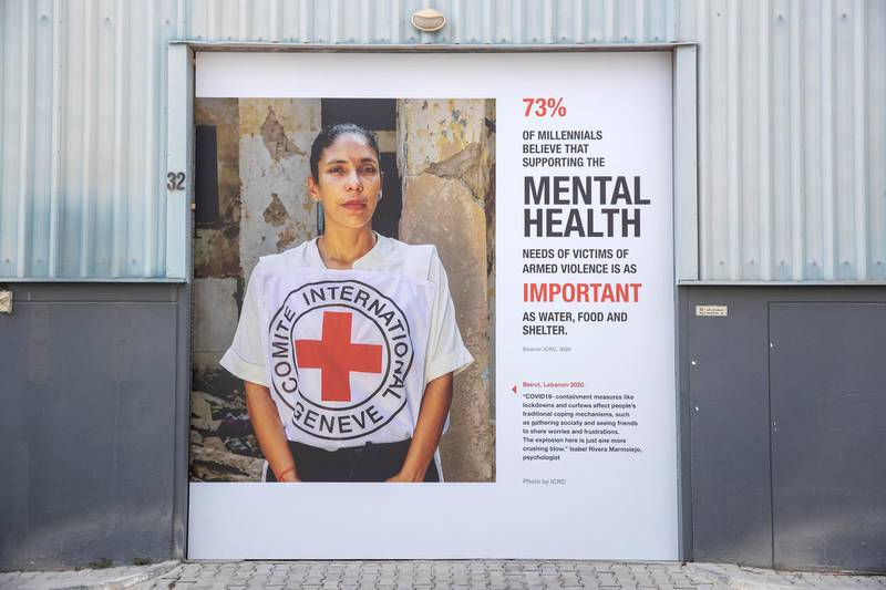 DUBAI, UNITED ARAB EMIRATES. 23 SEPTEMBER 2020. Street art project in place at Al Serkal Avenue to promote mental wellness during the Covid-19 pandemic. (Photo: Antonie Robertson/The National) Journalist: Nick Webster. Section: National.