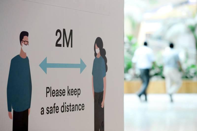 Dubai, United Arab Emirates - Reporter: N/A. News. Coronavirus/Covid-19. Covid safety measures at Times Square in Dubai. Tuesday, October 20th, 2020. Dubai. Chris Whiteoak / The National
