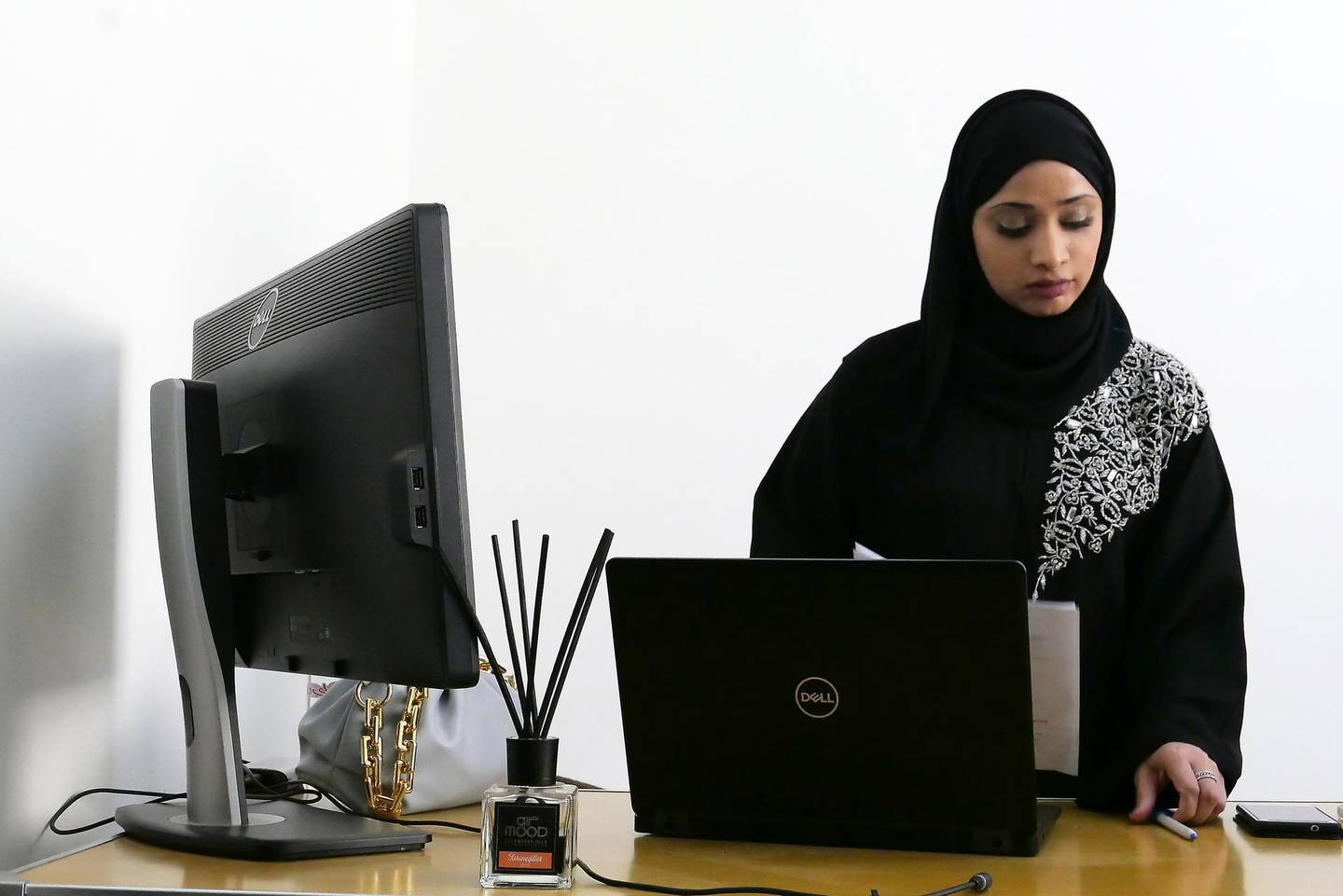 FUJAIRAH, UNITED ARAB EMIRATES , March 7, 2021 –  Saadah Khameis Amer Alyalyali, Maximo & IT Superintendent of ACCIONA working at her office in Fujairah. (Pawan Singh / The National) For News/Online. Story by Anam