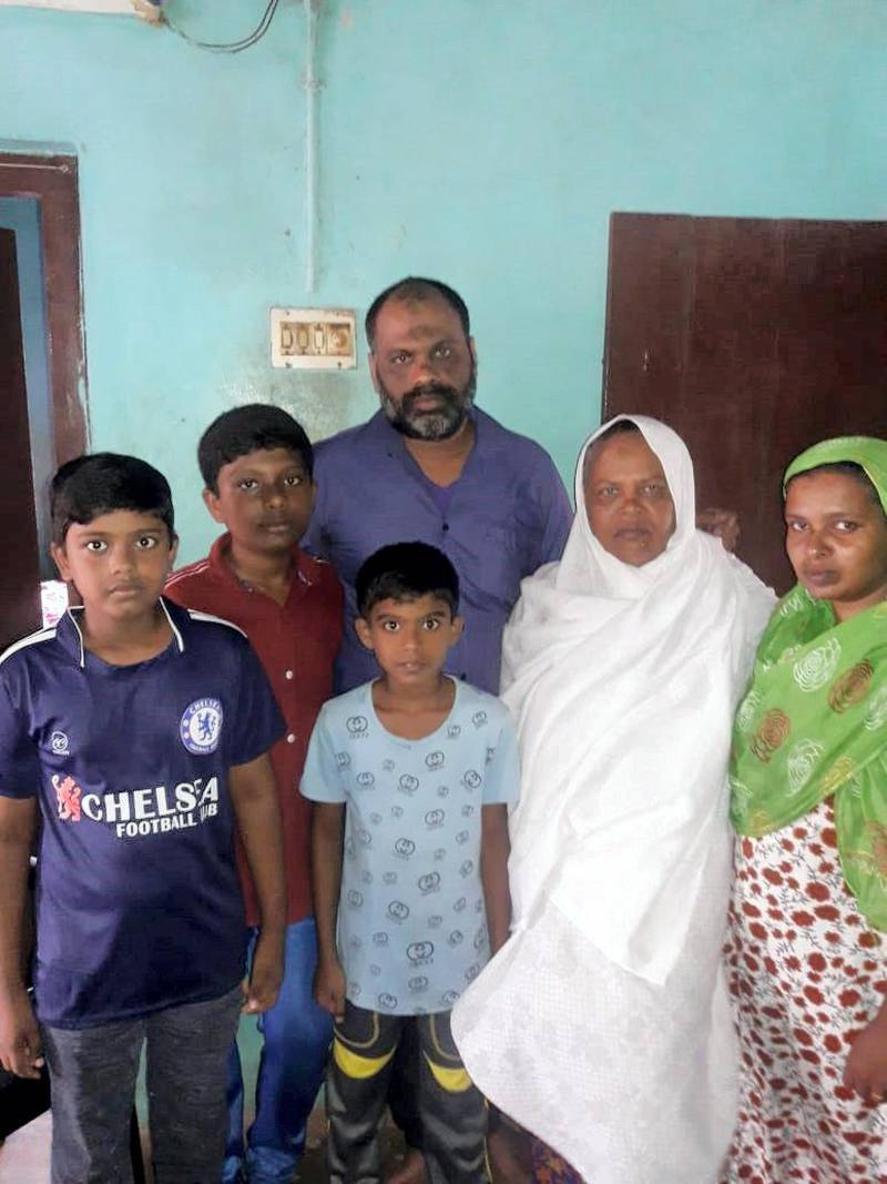 Abdul Musthaba, with his family in Thiruvananthapuram, in southern India's Kerala state. He is one of 14 Indian sailors released after 10 months in captivity by Houthi rebels. Courtesy: Abdul Musthaba