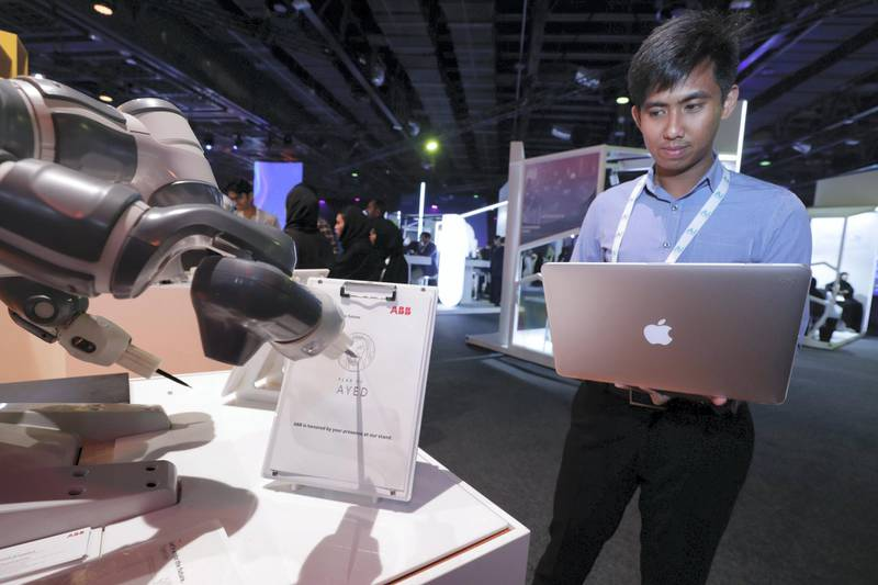 Dubai, April 30, 2019.  Ai Everything show at the Dubai World Trade Centre. --  The Yumie IRB 1400 Collaborative Robot drawing H.E. Sheikh Zayed.Victor Besa/The NationalSection:  NAReporter:  P. Ryan and A. Sharma