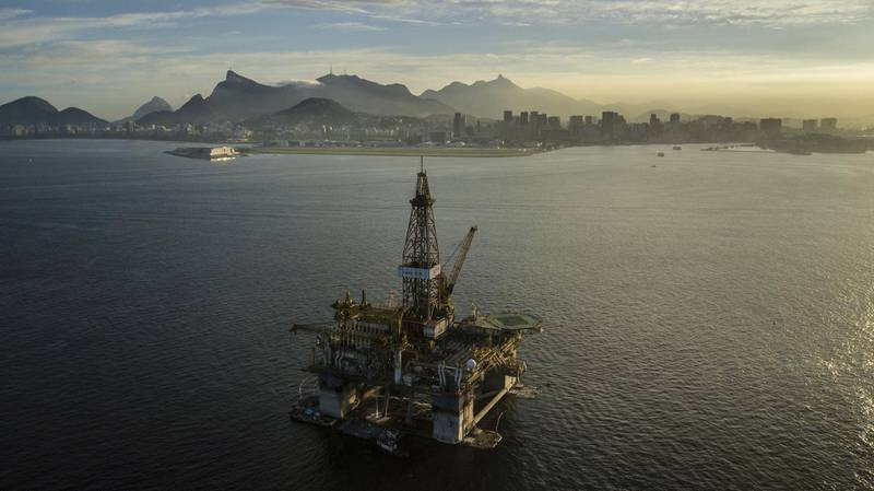 A Queiroz Galvao SA offshore oil platform is seen in an aerial photograph taken above the Guanabara Bay near Niteroi, Rio de Janeiro state, Brazil, on Thursday, April 26, 2018. The Brazilian Institute of Geography and Statistics (IBGE) is scheduled to release industrial production figures on May 3. Photographer: Dado Galdieri/Bloomberg