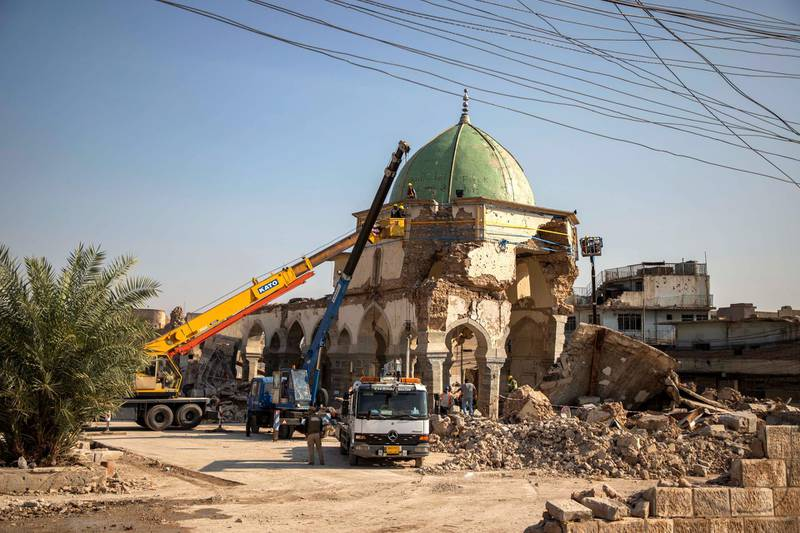 Al Nouri mosque - work on site. Moamin Al-Obeidi / UNESCO