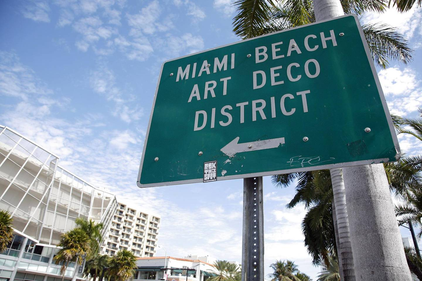 Miami (Florida, United States) 2011: South Beach District with its Art Deco hotels and building sign, notice, placard. (Photo by: Andia/UIG via Getty Images)