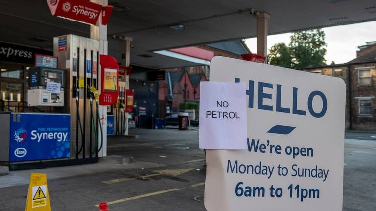 An image that illustrates this article British government suspends competition laws to battle petrol panic buying
