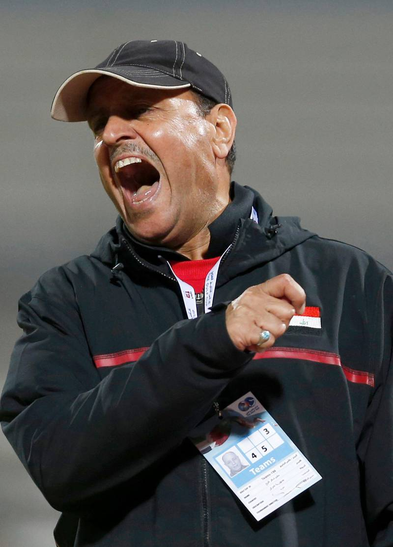 Iraq's coach Hakeem Shaker reacts during their final game against the UAE at the Gulf Cup Tournament in Isa Town, January 18, 2013.   REUTERS/Fadi Al-Assaad (BAHRAIN - Tags: SPORT SOCCER) *** Local Caption ***  QAT58_SOCCER-_0118_11.JPG